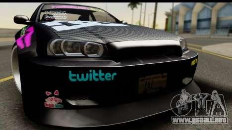 Nissan Skyline GT-R Rize Itasha para GTA San Andreas vista posterior izquierda