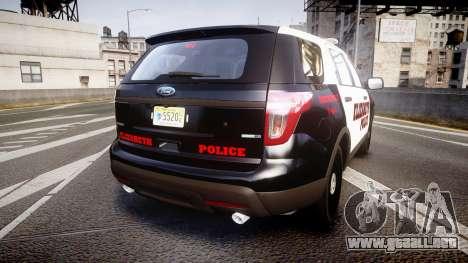 Ford Explorer 2011 Elizabeth Police [ELS] para GTA 4 Vista posterior izquierda