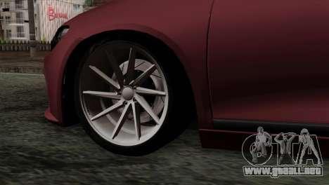 Volkswagen Scirocco R para GTA San Andreas vista posterior izquierda
