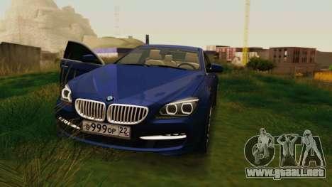 BMW 6 Series Gran Coupe 2014 para GTA San Andreas vista hacia atrás