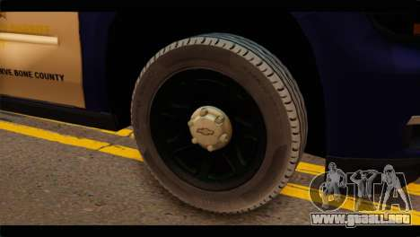 Chevrolet Suburban 2015 BCSD Sheriff para GTA San Andreas vista posterior izquierda
