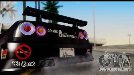 Nissan Skyline GT-R Rize Itasha para la visión correcta GTA San Andreas