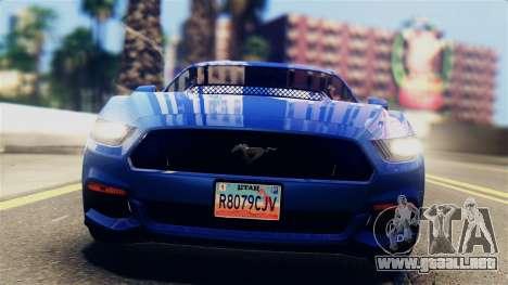 Ford Mustang GT 2015 Stock Tunable v1.0 para GTA San Andreas vista posterior izquierda