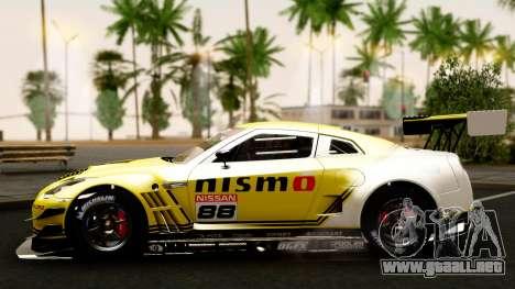 Nissan GT-R (R35) GT3 2012 PJ4 para vista lateral GTA San Andreas