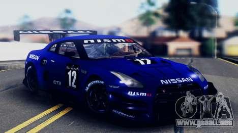Nissan GT-R (R35) GT3 2012 PJ5 para el motor de GTA San Andreas
