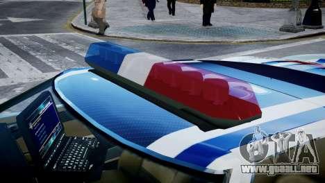 Bullet Police Car para GTA 4 vista hacia atrás
