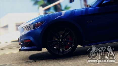 Ford Mustang GT 2015 Stock Tunable v1.0 para GTA San Andreas vista hacia atrás