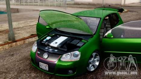 Volkswagen Golf Mk5 GTi Tunable PJ para GTA San Andreas vista hacia atrás