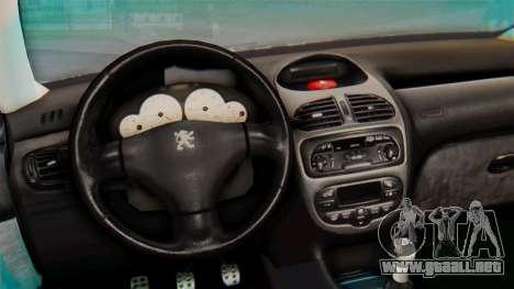 Peugeot 206 Coupe Police para GTA San Andreas vista hacia atrás