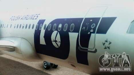 LOT Polish Airlines Airbus A320-200 (New Livery) para GTA San Andreas vista hacia atrás