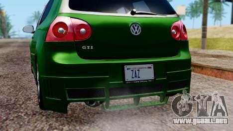 Volkswagen Golf Mk5 GTi Tunable PJ para vista inferior GTA San Andreas