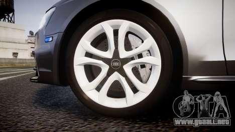 Audi S4 Avant Unmarked Police [ELS] para GTA 4 vista hacia atrás