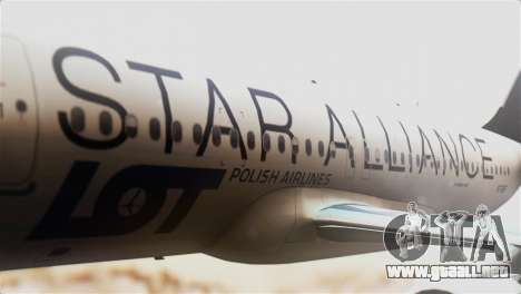 LOT Polish Airlines Airbus A320-200 para GTA San Andreas vista hacia atrás