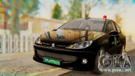 Peugeot 206 Coupe Police para la visión correcta GTA San Andreas