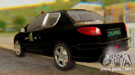 Peugeot 206 Coupe Police para GTA San Andreas vista posterior izquierda