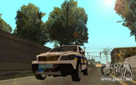 Skoda Octavia Scout de la polica de ucrania para GTA San Andreas vista posterior izquierda