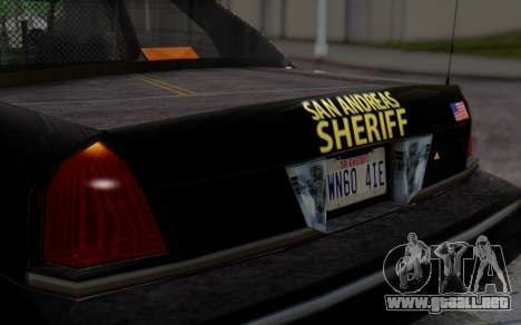 Ford Crown Victoria Sheriff para GTA San Andreas vista hacia atrás