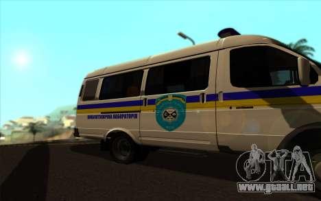 GAZelle 2705 Buscaminas Ucrania para GTA San Andreas vista posterior izquierda