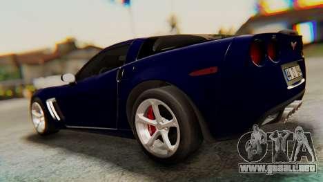 Chevrolet Corvette Sport para GTA San Andreas vista posterior izquierda
