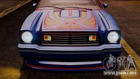 Ford Mustang King Cobra 1978 para las ruedas de GTA San Andreas