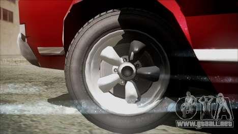 Sabre Turbocharged para GTA San Andreas vista posterior izquierda