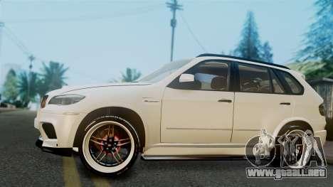 BMW X5M 2014 E-Tuning para GTA San Andreas vista posterior izquierda