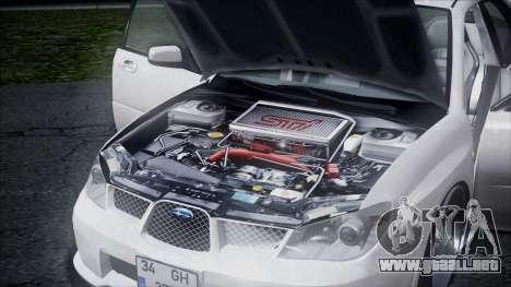 Subaru Impreza para visión interna GTA San Andreas