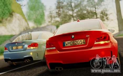 BMW 1M E82 para GTA San Andreas vista posterior izquierda