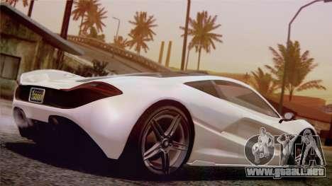 GTA 5 Progen T20 para GTA San Andreas vista posterior izquierda