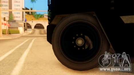 Sat Brimob Skin Enforcer from GTA 5 para GTA San Andreas vista posterior izquierda