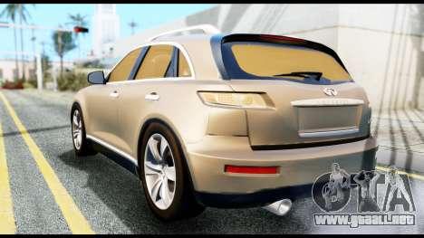 Infiniti FX45 para GTA San Andreas left