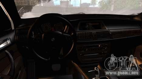 BMW X5M 2014 E-Tuning para GTA San Andreas vista hacia atrás