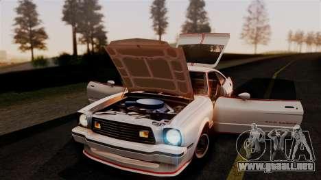 Ford Mustang King Cobra 1978 para vista lateral GTA San Andreas