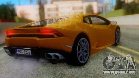 Lamborghini Huracan 2015 Horizon Wheels para GTA San Andreas left