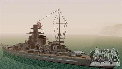 Scharnhorst Battleship para GTA San Andreas vista posterior izquierda