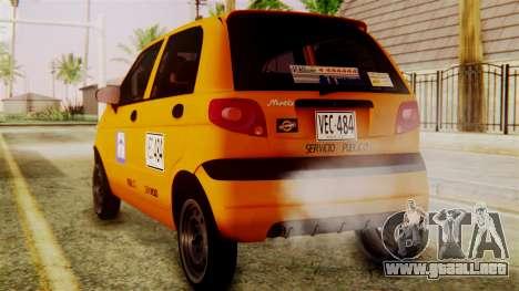 Daewoo Matiz Taxi para GTA San Andreas left