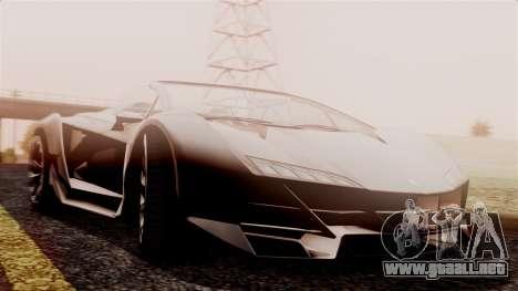 Pegassi Zentorno Cabrio v2 para GTA San Andreas vista posterior izquierda