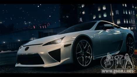 Lexus LF-A 2010 EPM para GTA 4 Vista posterior izquierda