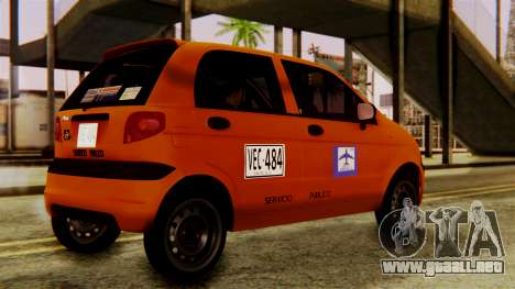 Daewoo Matiz Taxi para GTA San Andreas vista posterior izquierda