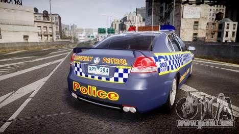 Holden VE Commodore SS Highway Patrol [ELS] v2.1 para GTA 4 Vista posterior izquierda