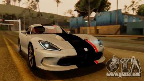 Dodge Viper SRT GTS 2013 IVF (HQ PJ) HQ Dirt para vista inferior GTA San Andreas