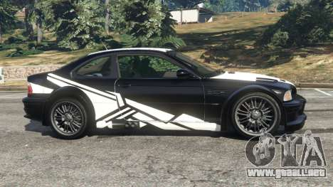 GTA 5 BMW M3 GTR E46 white on black vista lateral izquierda