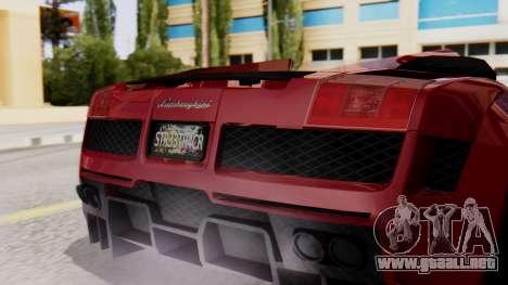 Lamborghini Gallardo J Style para GTA San Andreas vista hacia atrás