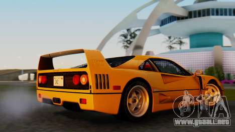 Ferrari F40 1987 without Up Lights para GTA San Andreas vista posterior izquierda
