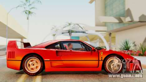 Ferrari F40 1987 with Up Lights para GTA San Andreas vista posterior izquierda