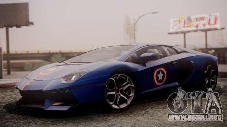 Lamborghini Aventador LP 700-4 Captain America para GTA San Andreas vista posterior izquierda
