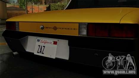Porsche 914 1970 para GTA San Andreas vista hacia atrás