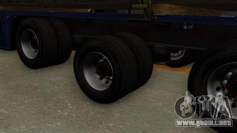 Flatbed3 Yellow para GTA San Andreas vista posterior izquierda
