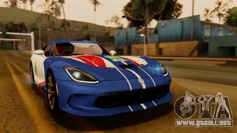 Dodge Viper SRT GTS 2013 IVF (HQ PJ) HQ Dirt para la vista superior GTA San Andreas