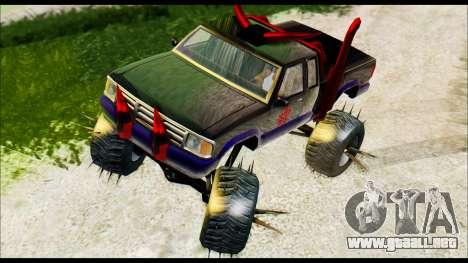 Predaceptor Monster Truck (Saints Row GOOH) para GTA San Andreas vista posterior izquierda